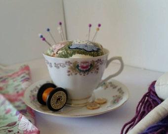 Vintage teacup pincushion, vintage teacup and saucer set, pincushion, sewing accessories, vintage chic, craft accessories, cup pincushion