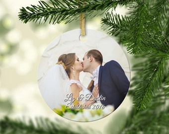 Wedding christmas ornament, First christmas ornament, married couple first christmas, personalized picture, wedding christmas ornament gift