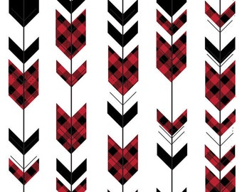 Buffalo Plaid Arrow Quilting Fabric. Fabric by the Yard. Cotton Knit Jersey. Buffalo Check Arrows Tribal Arrows Woodland Red and Black Baby