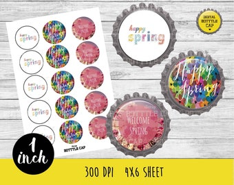 COD162- 50% OFF SALE Spring Bottlecap-Springy  1 inch Bottlecap-Spring  bottlecap-Happy spring  1 inch