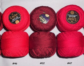 Anchor Cotton Thread Size #40 - Crochet Cotton Thread - 100% Mercerized Cotton Thread - Tatting Thread - Set of 10 Balls of Red Color Family