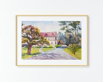 Original Watercolor Painting,Watercolor Painting,landscape,Paseo Encinal St