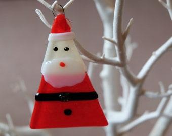 Fused glass Santa Christmas tree ornament