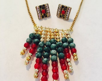 Bohemian Beaded necklace & earring set