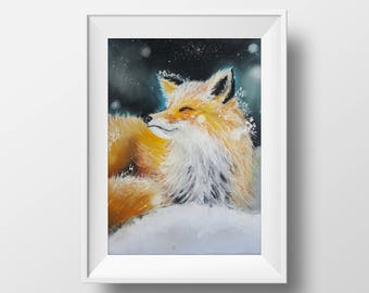 ORIGINAL Soft Pastel Painting, Snow Fox, Soft Pastels Painting Art