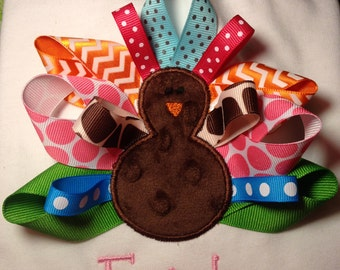 Girls Ribbon Turkey Shirt, Thanksgiving Shirt, Fall Embroidered Shirt Personalized, First Thanksgiving, choise own color ribbons