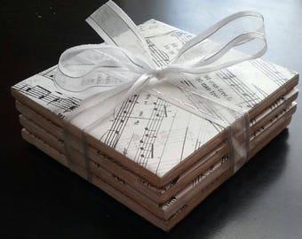Handmade Christmas sheet music ceramic tile coasters