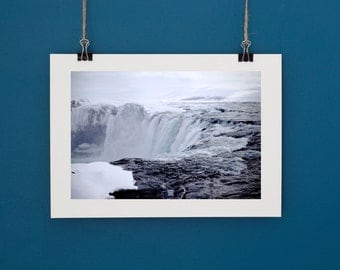 "Godafoss Iceland Waterfall Print Landscape Photography. Custom sizes up to 9.3""x14"""