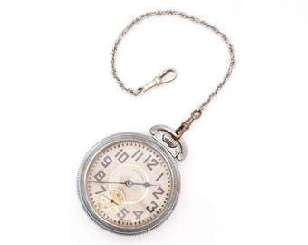 Circa 1900s Antique Illinois Railroad Pocket Watch, VJ #551A