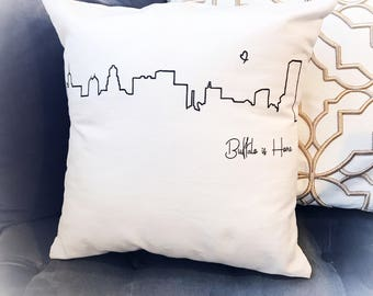 Buffalo is Home, City Skyline, Throw Pillow, Buffalo NY