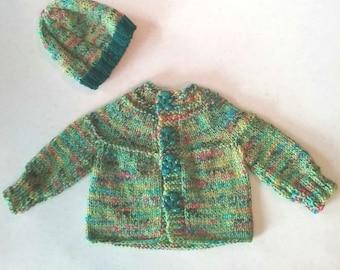 Newborn green baby sweater