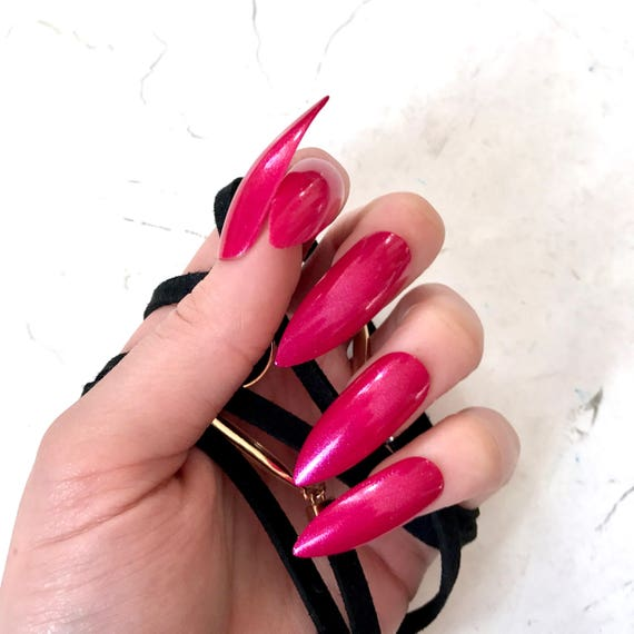 XL Pink Stiletto Fake Nails Kitten Claws Extra Long