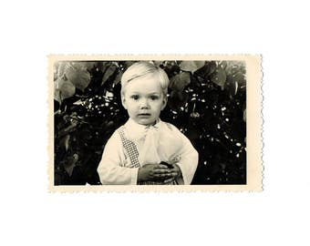 Soviet Vintage Photo: Cute Boy, Old Russia Photo, Retro Black and White Photo, 1950s, White Border Around Photo With Children.