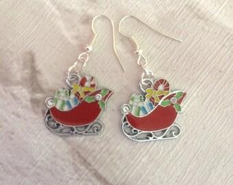 Christmas Earrings, Novelty earrings, Santa Sleigh Earrings, Christmas Dangle Earrings, Stocking Filler, Festive Earrings.