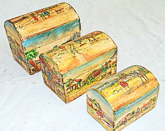 Vintage South America Hand Painted Nesting Mini Camelback Dome Top Chests set of 3 Scenes in Village Llama Andes Mountains