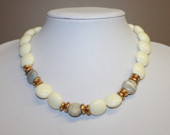 Signed Vintage Jones New York Choker Necklace White Resin Beads Gray Striped Glass Beads Gold Tone Bead Caps Estate Jewelry