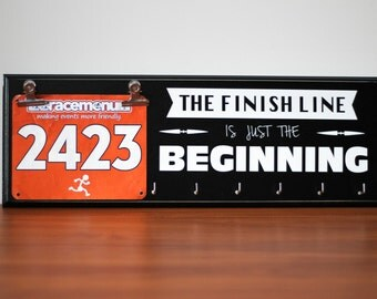 Gift for Runners - Running Medal Holder and Race Bib Hanger - The Finish Line Is Just The Beginning
