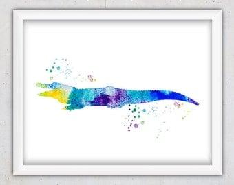 Nursery Art Print, Alligator Nursery Wall Art Print, Digital Download Nursery Print, Watercolor Art, Colorful Blue Art, Nursery Boy Print