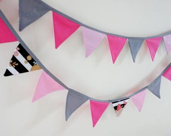 Mini pennant banner, fabric flag banner, baby shower decor, girls party bunting, gold nursery garland, wall decor, black white bedroom decor