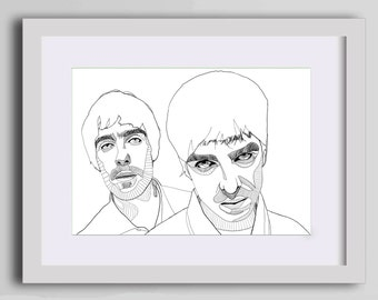 Oasis band wall art, Gallagher brothers portrait art print, Oasis Poster, Manchester artwork,liam gallagher,noel gallagher, A4 Giclee print