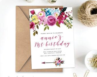 Boho Birthday Invitation Printable - 21st 18th 40th 50th Bachelorette Invite Announcement flowers chic feathers bridal - Digital File