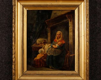 Antique interior scene painting oil on canvas from 19th century