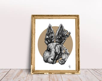 Surreal Floral Rabbit Print//Unusual Gift// Mocha// Decorative// Home Decor