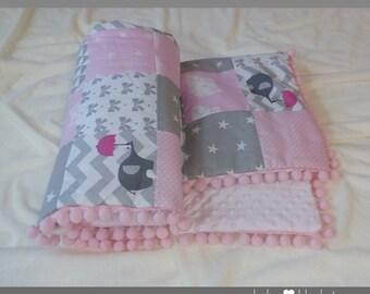 patchwork blanket, Baby  Blanket, Nursery Decor, Minky Blanket, baby bedding, Patchwork Minky