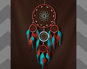 Dream catcher READY TO SHIP Dreamcatcher Indian talisman  brown and blue color, Boho Home Decor