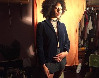 Vintage Navy Blue Velvet Blazer