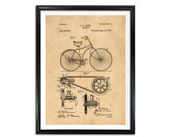 Bicycle Patent, Patent Prints, Vintage wall art, bicycle print