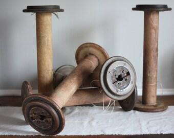 5, Large Industrial Wooden Spools, Vintage Industrial Bobbin, Industrial Decor, Factory Fresh