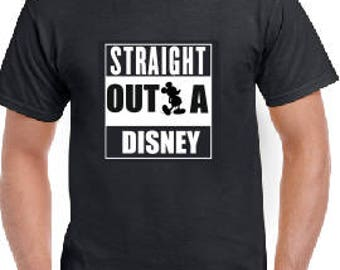 Straight Outta Disney inspirado a eslogan impreso camisetas Unisex adultos y los niños la ropa de moda