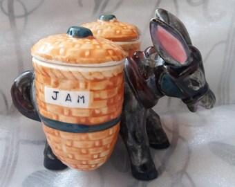 Vintage donkey honey pot, jam pot, retro, kitsch