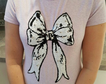 Bow Patch Large Sequin Sew on Applique