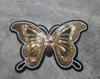 Gold Butterfly Sequin Iron on Applique