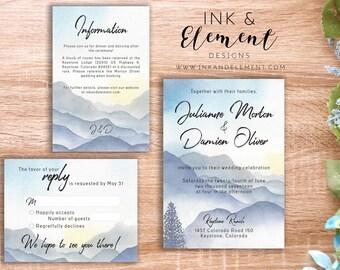 Misty mountains, Wedding invitation, mountain wedding, watercolor mountain invitation, forest wedding, rustic wedding invitation