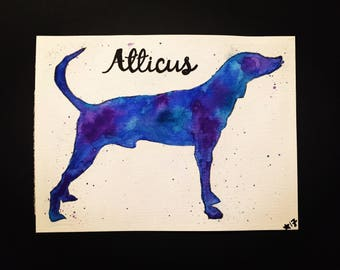 Dog Pet Watercolor Painting, Plott Hound Silhouette, Wall Art, Customize or Personalize for Free, Home Decor
