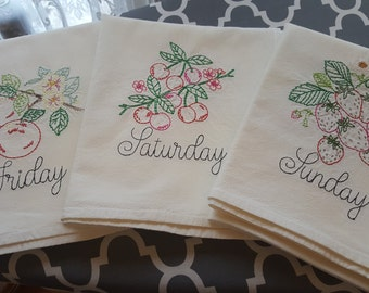 Vintage inspired  Set of 7 Fancy Fruits Days of the week Flour sack towels
