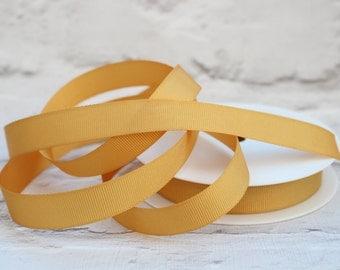 Grosgrain Ribbon, Gold Ribbon, 1 Meter Ribbon, 16mm Ribbon, Craft Ribbon, Sewing Supplies, Etsy Shop Supplies