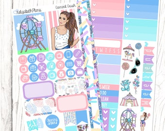 Carnival Crush | Funfair, Summer, Girl, Fashion, Candy, Planner Stickers, PERSONAL SIZED KIT