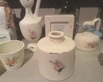Shabby Chic Vintage Style Distressed Decoupaged Bottle Vase