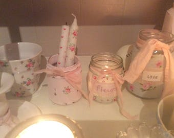 Shabby Chic 2 pretty tea light holders Jars / Vases / Cath Kidston style