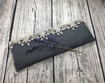 Aromatherapy Grey Organic Lavender Stonewashed 100 Linen Eye pillow / Sleep mask / Yoga / Calming / Sleep aid / Handmade / Ready to ship