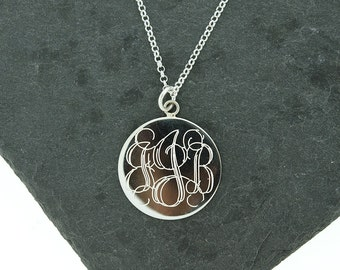 925 Sterling Silver Large Round Circle Monogram Disc Necklace, Monogrammed Disc Necklace