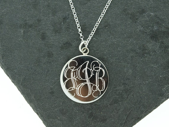 925 sterling silver large round circle monogram disc necklace