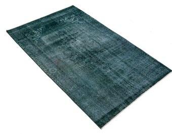 "Genuine Vintage  rug, Distressed Rugs, Handmade oriental rug  5'7""x 9'1, blue color vintage rug, blue, aqua decoration, distressed area rug"