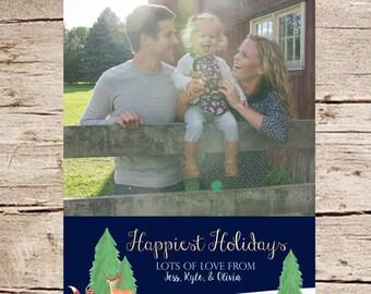 Photo Christmas Card, Photo Holiday Card, DIGITAL, Watercolor