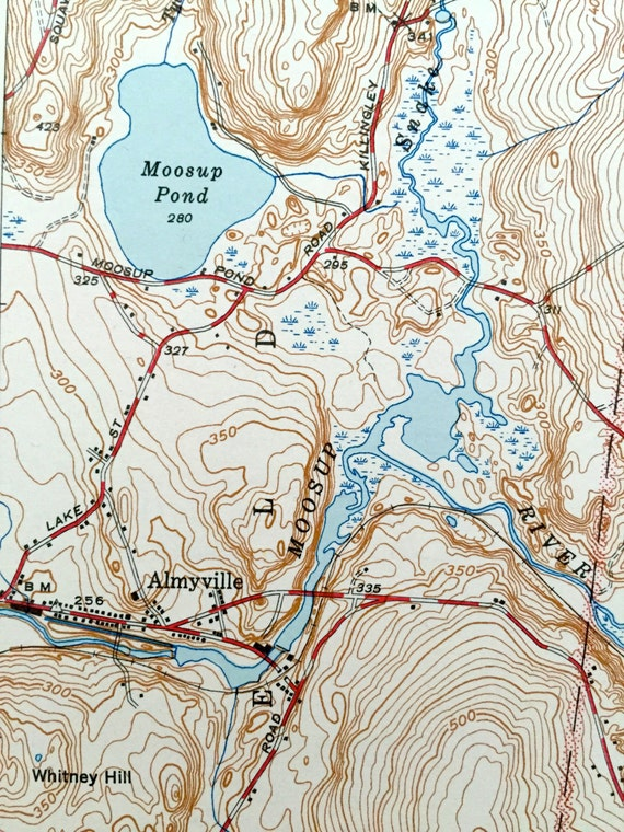 Antique Oneco Connecticut 1944 Us Geological Survey Topographic Map Sterling Voluntown Almyville Plainfield Coventry Rhode Island