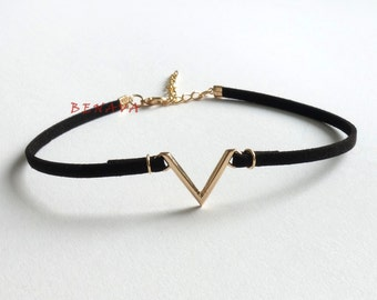 Choker collar necklace geometric black gold
